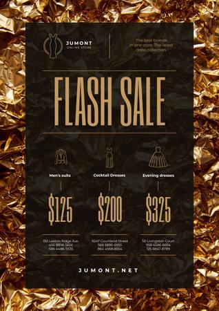 Plantilla de diseño de Clothes Store Sale with Golden Shiny Background Poster