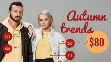 Autumn Trends Young Couple in Fall Outfits Youtube Thumbnail Modelo de Design