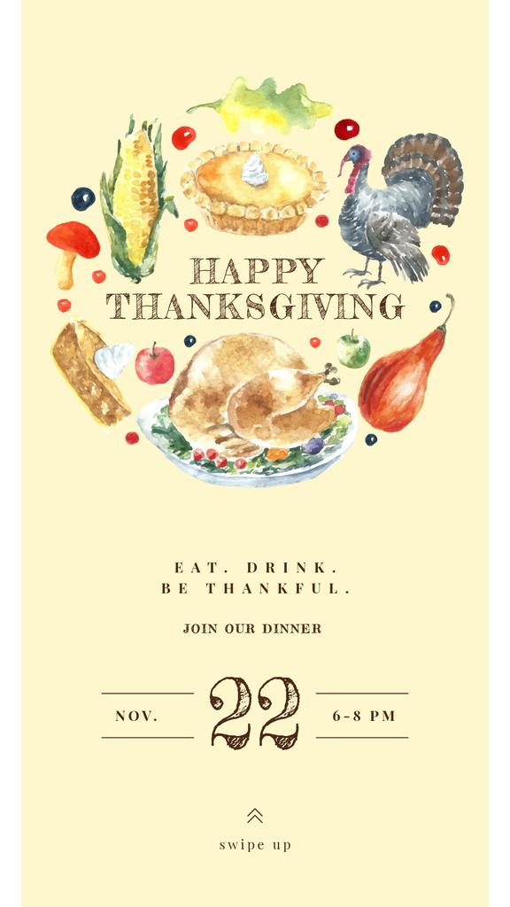 Thanksgiving Greeting with Traditional Food —デザインを作成する