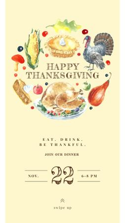 Plantilla de diseño de Thanksgiving Greeting with Traditional Food Instagram Story