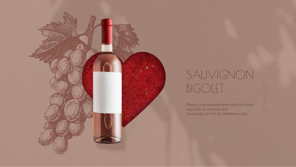 Valentine's Day Bottle of Wine on Red Heart — Create a Design