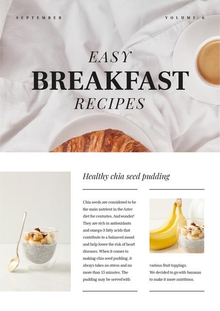 Easy Breakfast Recipes Ad Newsletter Design Template