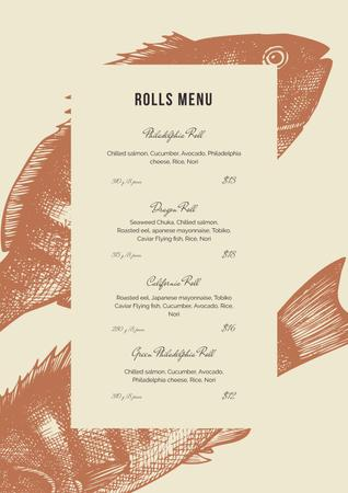 Asian cuisine Rolls Menu Modelo de Design