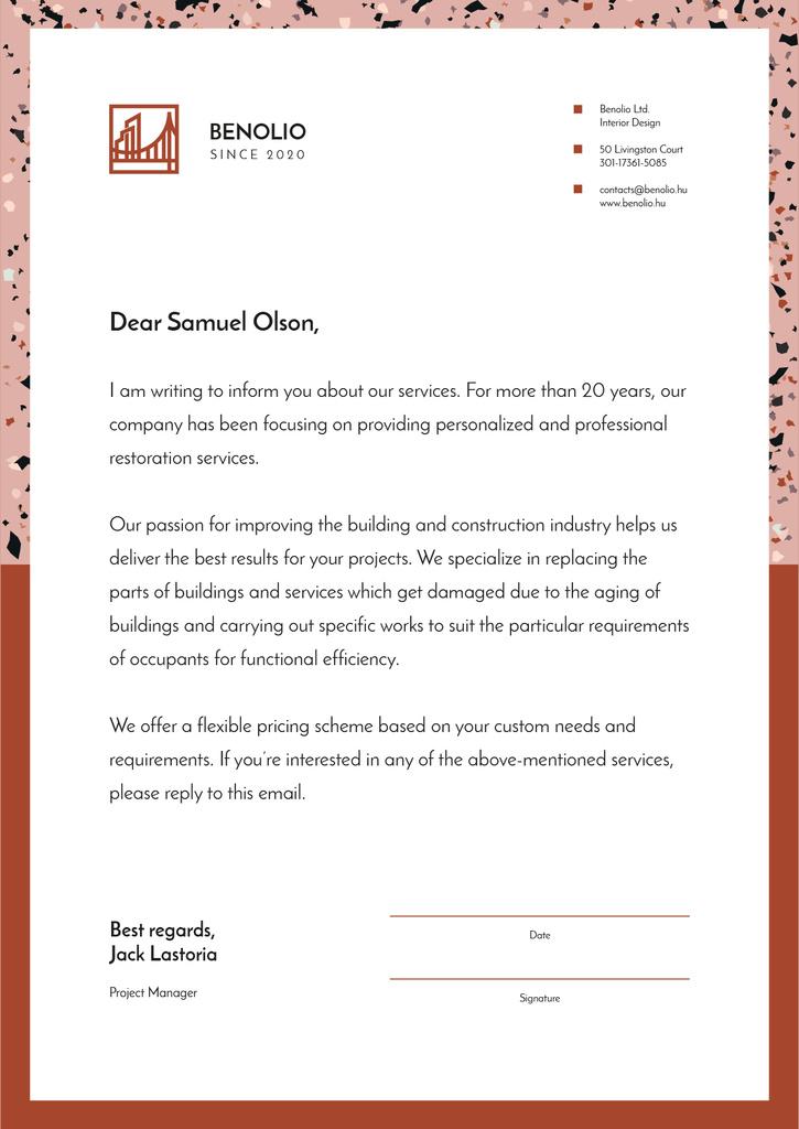 Modèle de visuel Construction Company services offer - Letterhead