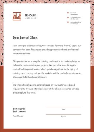 Ontwerpsjabloon van Letterhead van Construction Company services offer