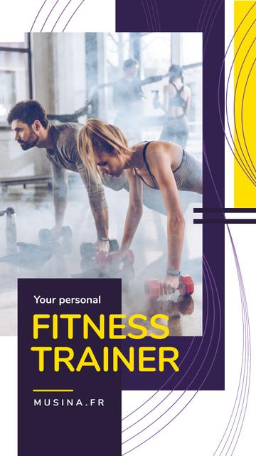 Designvorlage Personal Trainer Promotion People Exercising für Instagram Story