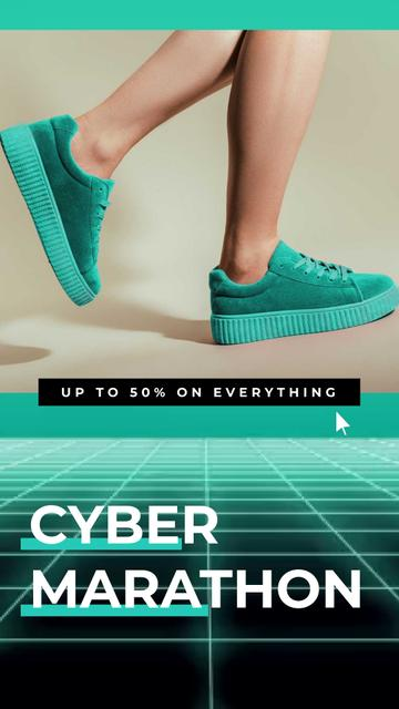 Template di design Cyber Monday Sale Sneakers in Turquoise Instagram Video Story