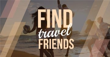 Travel motivational with people running on sandy beach