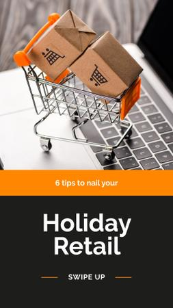 Shopping tips with Cart and Laptop Instagram Story Tasarım Şablonu