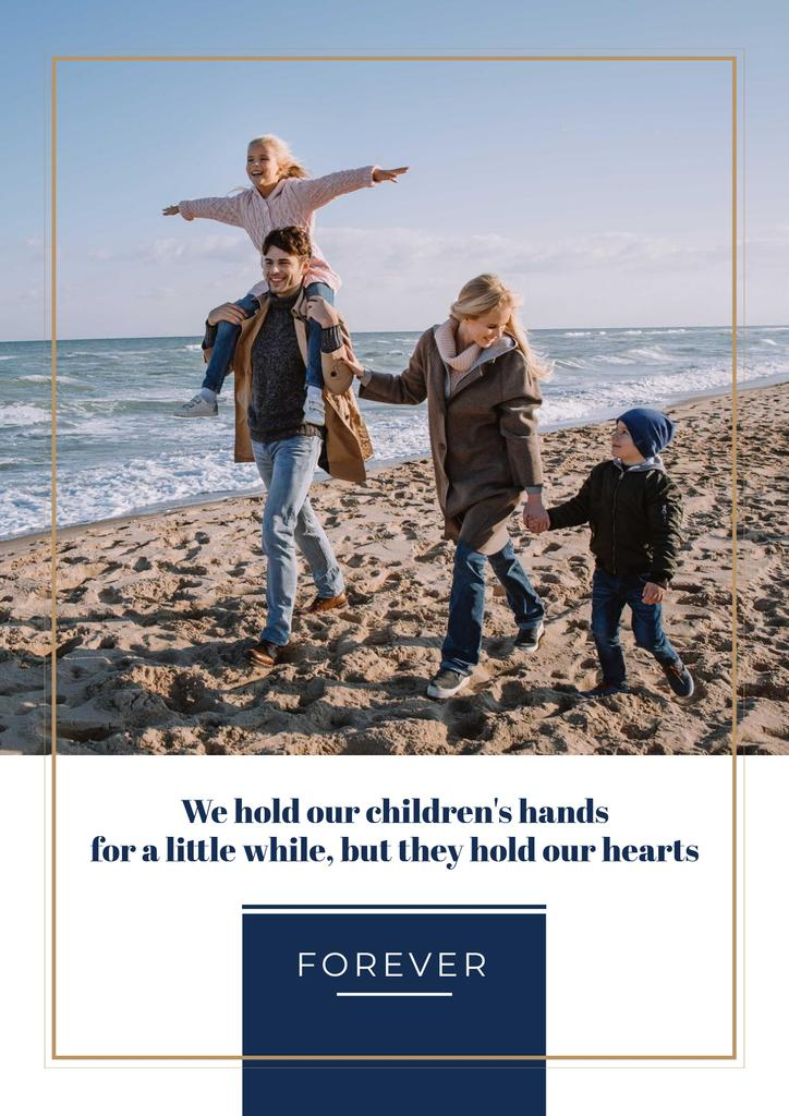 Parents with kids having fun at seacoast — Crear un diseño