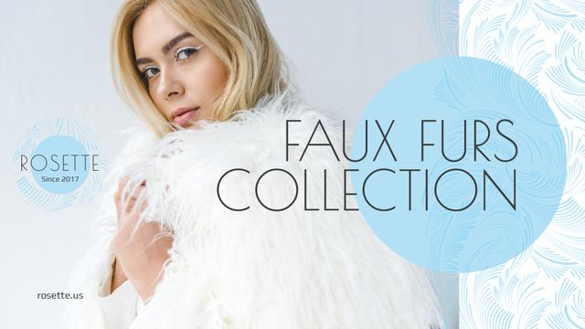 Fashion Ad with Woman in Faux Fur Coat Presentation Wide Tasarım Şablonu