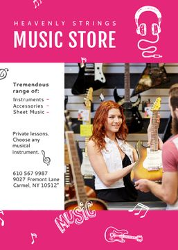 Music Store Ad Woman Selling Guitar | Flyer Template