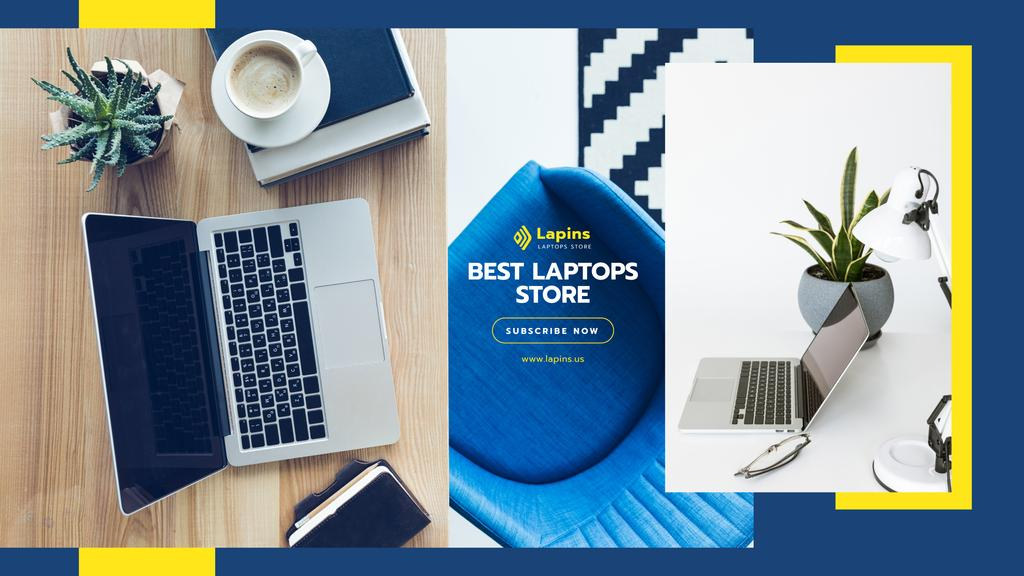 Gadgets Store Promotion with Laptop on Table — Create a Design
