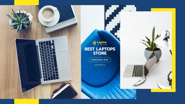 Gadgets Store Promotion with Laptop on Table Youtube Modelo de Design
