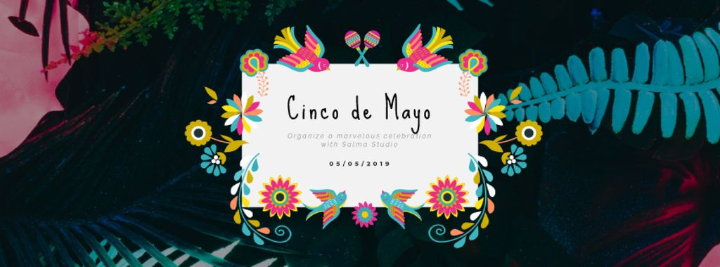 Cinco de Mayo Mexican holiday frame with flowers — Maak een ontwerp