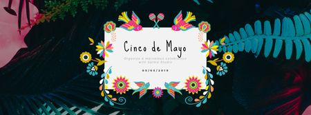 Cinco de Mayo Mexican holiday frame with flowers Facebook Video cover Modelo de Design