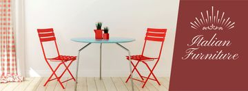 Furniture Advertisement with Red Chairs by Table