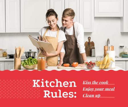 Plantilla de diseño de Happy Couple cooking on kitchen Facebook
