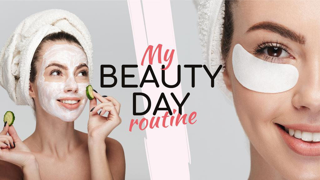 Beauty Routine Ad Woman Applying Patches and Mask Youtube Thumbnailデザインテンプレート