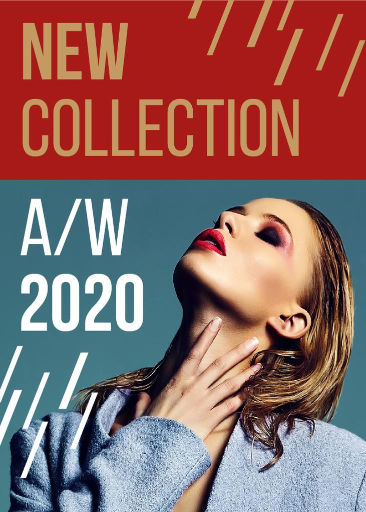 New Collection Promotion Woman with Bright Make-Up — ein Design erstellen