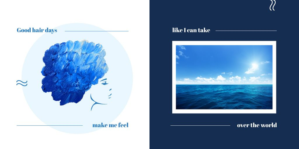 Collage with female profile and ocean Image Design Template