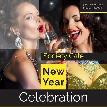 Plantilla de diseño de New Year celebration with Cheerful Women Instagram