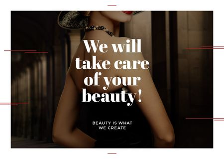 Szablon projektu Citation about care of beauty  Card