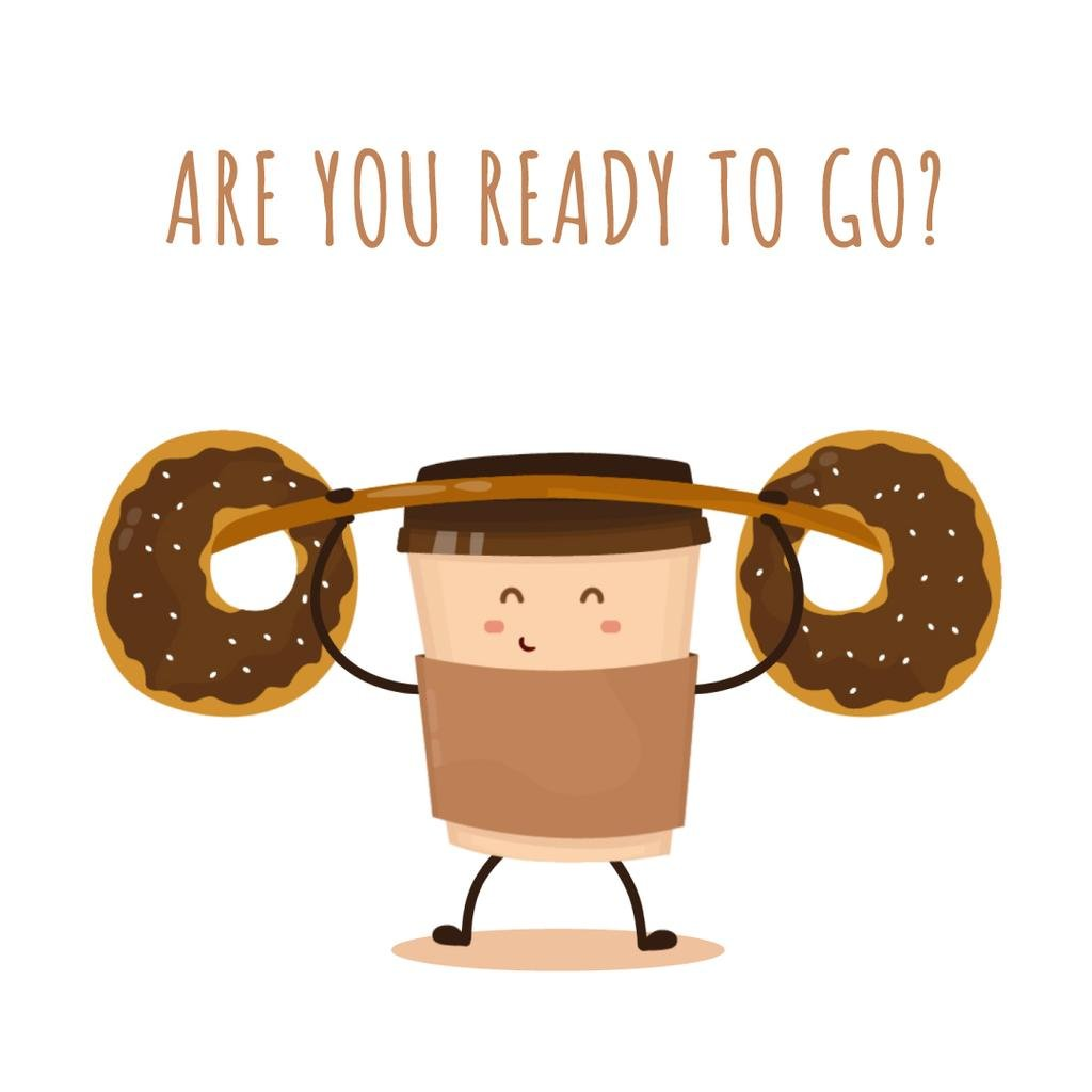 Coffee cup character lifting donuts — Create a Design