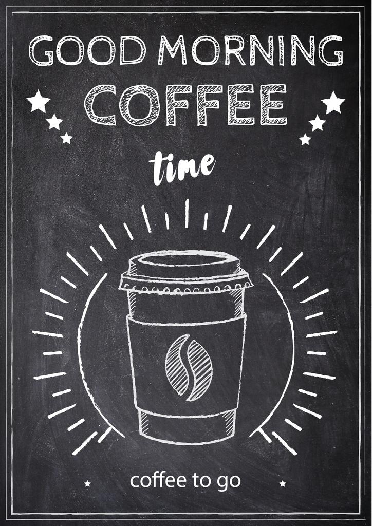 Chalk Illustration of cup of Coffee — Створити дизайн