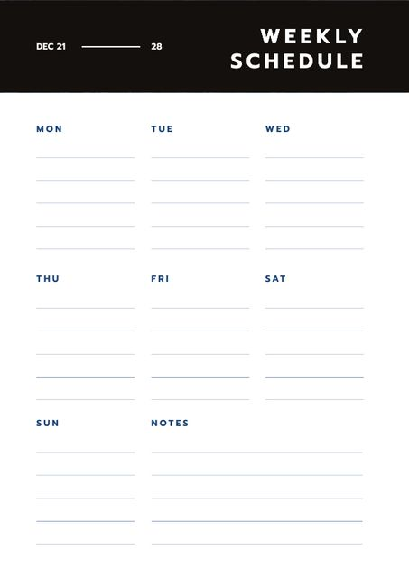 Simply Weekly plan Schedule Plannerデザインテンプレート