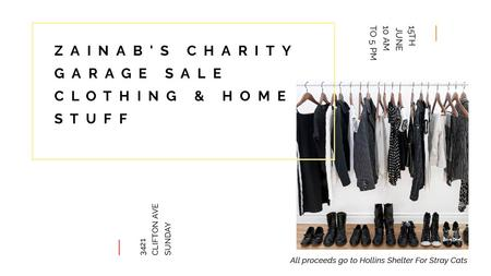 Charity Sale announcement Black Clothes on Hangers Titleデザインテンプレート
