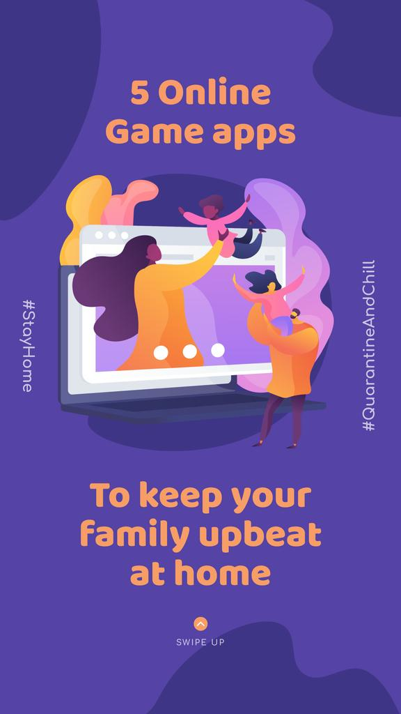 #QuarantineAndChill Online Game apps Ad with Happy Family — Modelo de projeto
