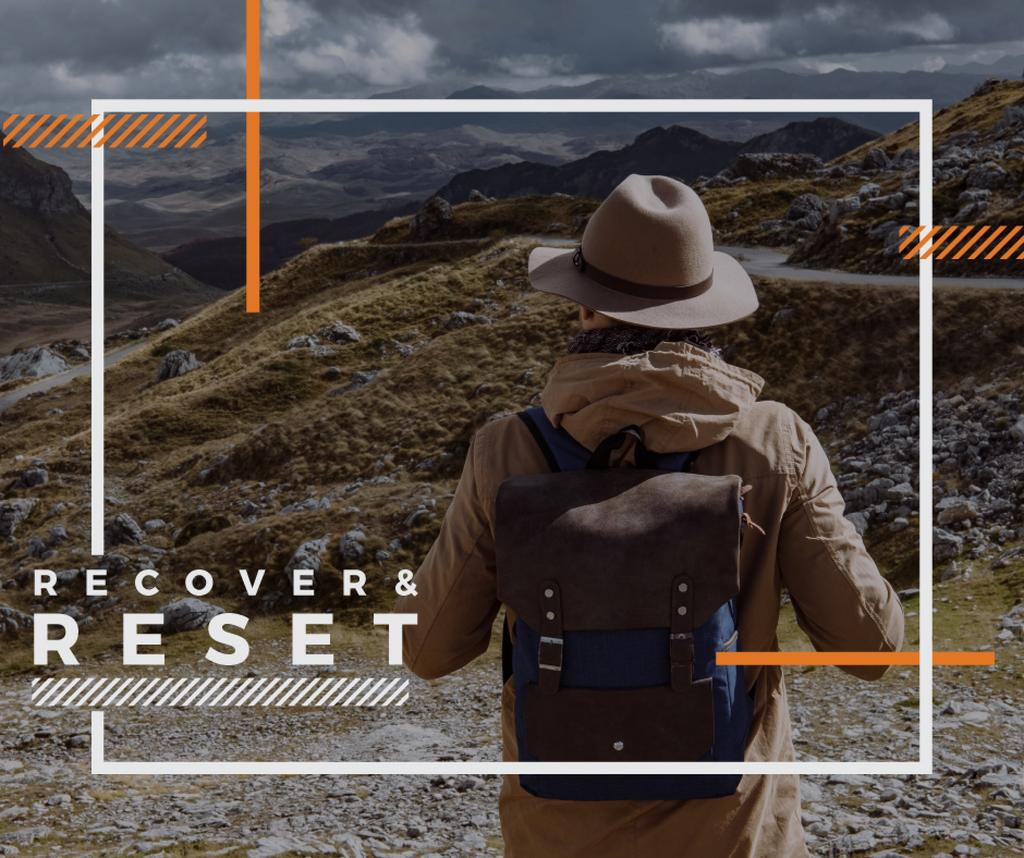 Mountains Hiking Tour Traveler Enjoying View — Створити дизайн