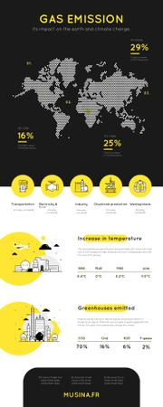 Map Infographics about Gas emission impact on Earth Infographic Modelo de Design