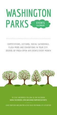 Park Event Announcement Green Trees Graphic Modelo de Design