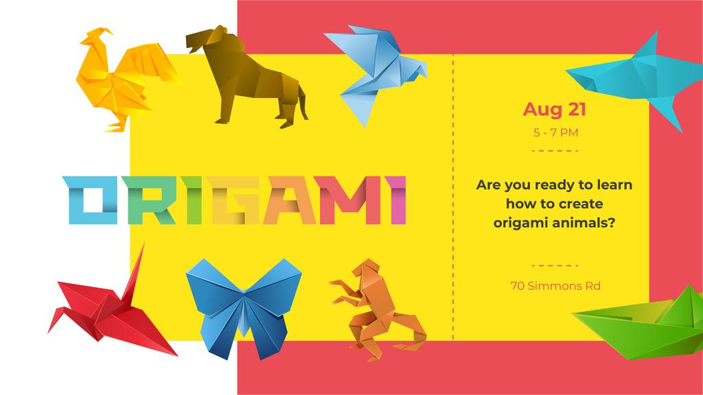 Origami Classes invitation with Animals Paper Figures — ein Design erstellen