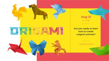 Origami Classes Invitation Animals Paper Figures | Facebook Event Cover Template