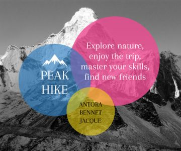 Hike Trip Announcement Scenic Mountains Peaks | Large Rectangle Template