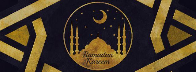 Plantilla de diseño de Golden mosque under Ramadan moon Facebook Video cover