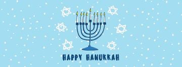 Happy Hanukkah Greeting Menorah in Blue