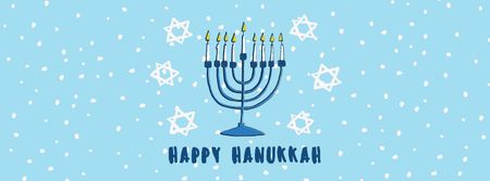 Modèle de visuel Happy Hanukkah Greeting Menorah in Blue - Facebook cover