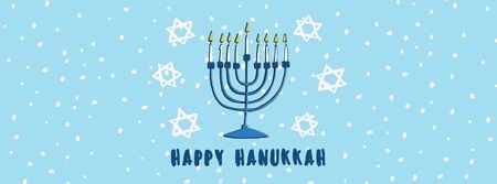Designvorlage Happy Hanukkah Greeting Menorah in Blue für Facebook cover