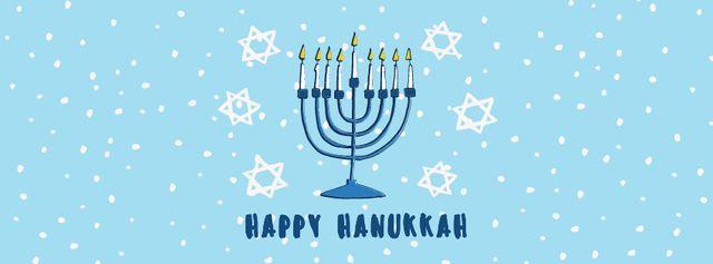 Ontwerpsjabloon van Facebook cover van Happy Hanukkah Greeting Menorah in Blue
