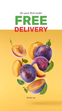 Delivery offer with fresh raw Plums