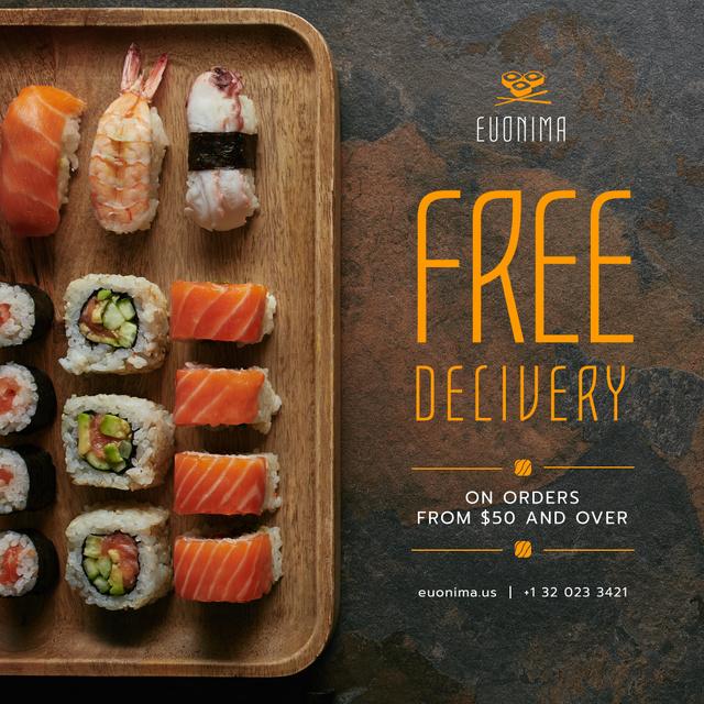 Designvorlage Japanese Restaurant Delivery Offer Fresh Sushi für Instagram AD