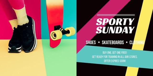 Plantilla de diseño de Sporty Sunday sale Twitter