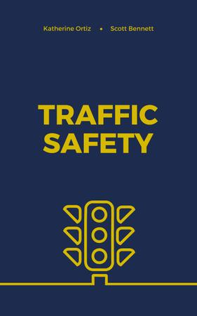 Traffic Safety Lights Icon on Blue Book Cover – шаблон для дизайна