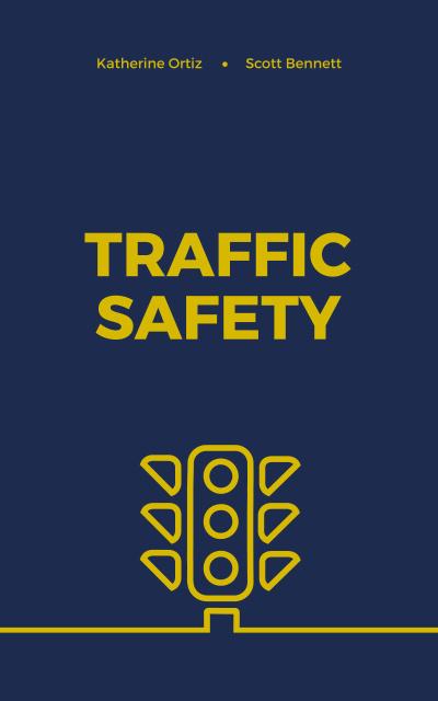 Traffic Safety Lights Icon on Blue Book Cover – шаблон для дизайна
