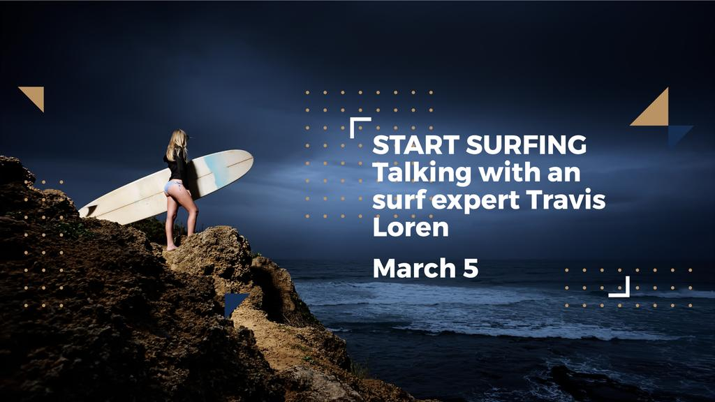 Surfing School Woman with Board in Blue FB event cover – шаблон для дизайну
