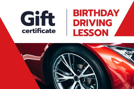 Plantilla de diseño de Driving Lessons Offer with Shiny Red Car Gift Certificate
